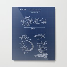 Cardiac Pacer Electrode System Vintage Patent Hand Drawing Metal Print