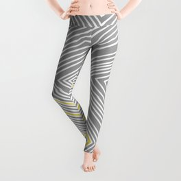 White, Yellow, and Gray Lines - Illusion Leggings