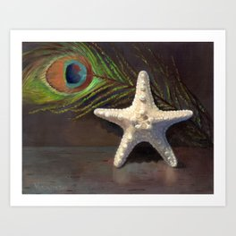 Starfish and a peacock feather Art Print