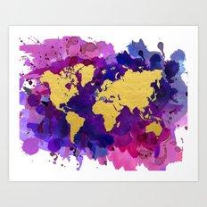 Pop of Color World Map Art Print