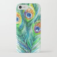peacock feather iPhone & iPod Cases featuring Peacock feather  by Slaveika Aladjova