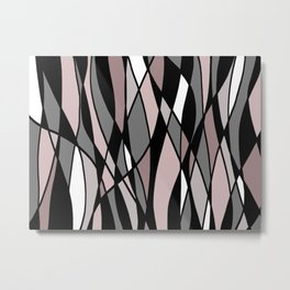 Abstract Mosaic (Pink, Grey, White) Metal Print
