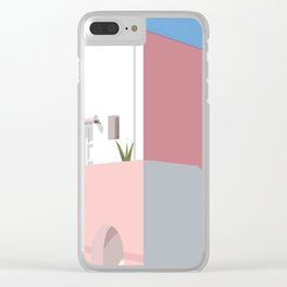 Postcard in pink Clear iPhone Case