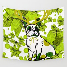 PUG POINSETTIA AND DRAGONFLIES Wall Tapestry