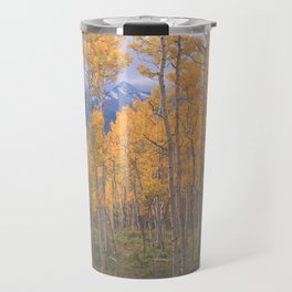 Brilliant Aspen color, framing Wilson Peak near Telluride, Colorado Travel Mug