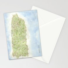 Puerto Rico watercolor map Stationery Cards