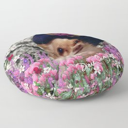 Chi Chi in Purple, Red, Pink, White Flowers, Chihuahua Puppy Dog Floor Pillow