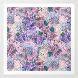Purple and blue Lilac & Hydrangea - Flower Design Kunstdrucke