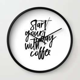 BUT FIRST COFFEE Quote, Start Your Day With Coffee,Calligraphy Quote,Coffee Sign,Funny Kitchen Decor Wall Clock