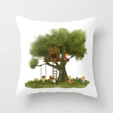Tree Kids House Throw Pillow