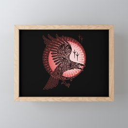 Vikings crow of death - RED Framed Mini Art Print