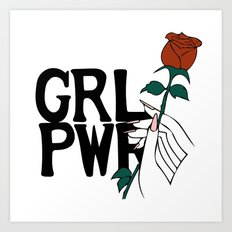 GRL PWR Rose Art Print