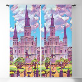 Colorful Iconic New Orleans French Quarter Architecture and Green Nature with Light Blue Sky Clouds Blackout Curtain