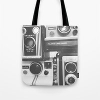 cameras Tote Bags featuring CAMERAS by Tracey Sawatzky