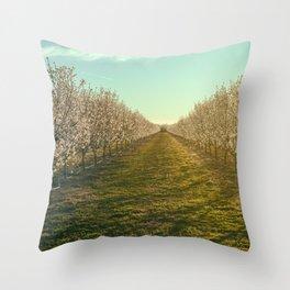 Morning at Almond Farm Throw Pillow