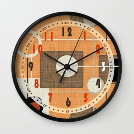 orbs and squares orange Wall Clock