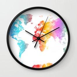 world map watercolor 3 Wall Clock