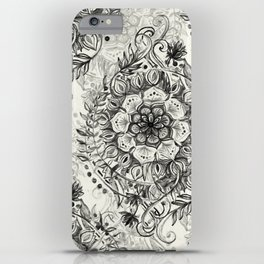 Messy Boho Floral in Charcoal and Cream  iPhone Case