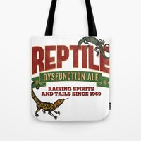 ale giorgini Tote Bags featuring Reptile Dysfunction Ale - Raising Spirits & Tails - Parody Beer Brand - Reptile - Adult Humor by Traci Hayner Vanover