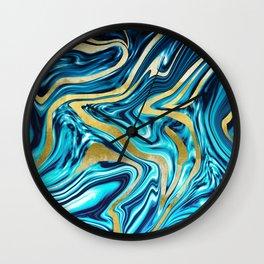 Ocean Gold Marble #1 #decor #art #society6 Wall Clock