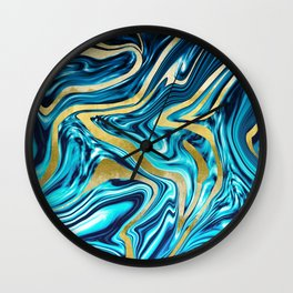 Ocean Gold Marble #1 #decor #art #society6 Wall Clock