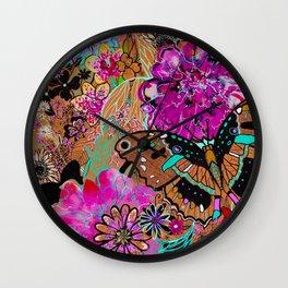 Neon Butterflies Wall Clock