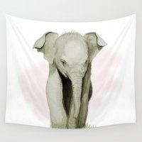 baby elephant Wall Tapestries featuring Baby Elephant by Tanya Petruk