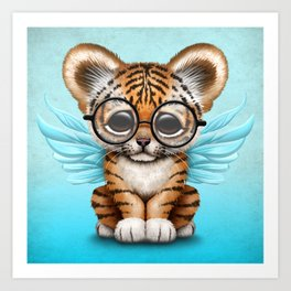 Tiger Cub with Fairy Wings Wearing Glasses on Blue Art Print