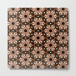 Black Pink and Gold Beadwork Inspired Print Metal Print