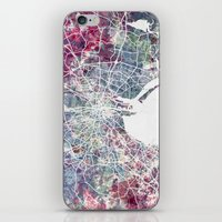 dublin iPhone & iPod Skins featuring Dublin by MapMapMaps.Watercolors