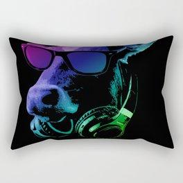 DJ COW In Neon Lights Rectangular Pillow