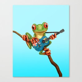 Tree Frog Playing Acoustic Guitar with Flag of Turks and Caicos Canvas Print