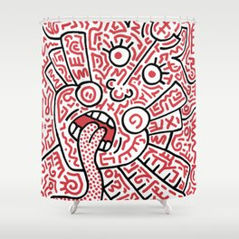 """The Face"" - inspired by Keith Haring v. red Shower Curtain"