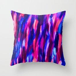 Neon Brushstrokes Throw Pillow