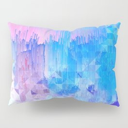 Abstract Candy Glitch - Pink, Blue and Ultra violet #abstractart #glitch Pillow Sham