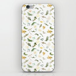 Hand painted green yellow watercolor leaves floral iPhone Skin