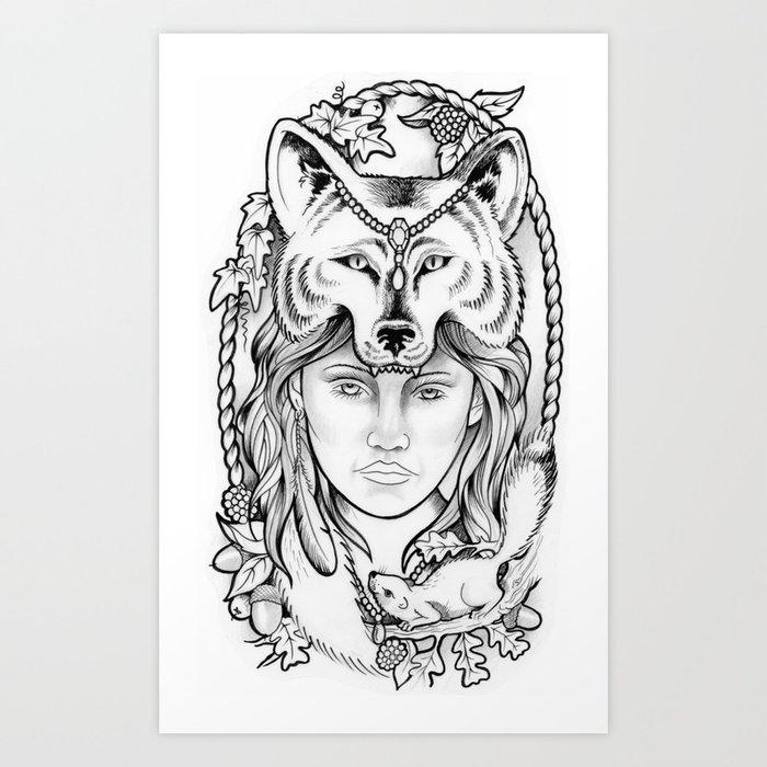 Wolf Woman Drawing