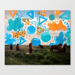 Wild Horses // Collage Horses + Creatve Pattern #society6 #art #prints Canvas Print