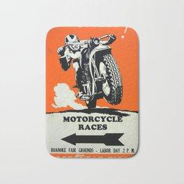 Motorcycle Races - Vintage Poster Bath Mat