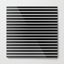 Black and White Horizontal Stripes Pattern Metal Print