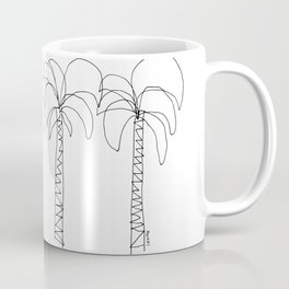 Palm Tree Illustration Summer Tropical Black and White - Live For The Moment no.2 Coffee Mug