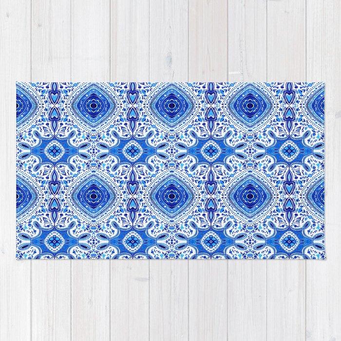 Indigo Mandala Pattern Rug
