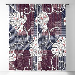 traditional stripes and leaves pattern Blackout Curtain