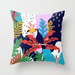 ABSTRACT TROPICAL JUNGLE AND TOUCAN BIRD PATTERN Throw Pillow
