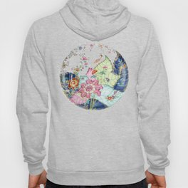 Damask antique floral porcelain china chinoiserie plate of flowers and crane bird vintage photo Hoody