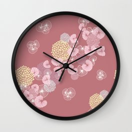 Floral Seamless Pattern on a Rusty Pink Background Wall Clock
