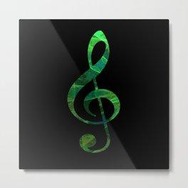 Music Key in Green Metal Print