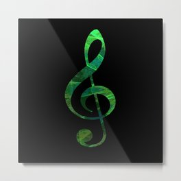 Music Key in Green Metal Print