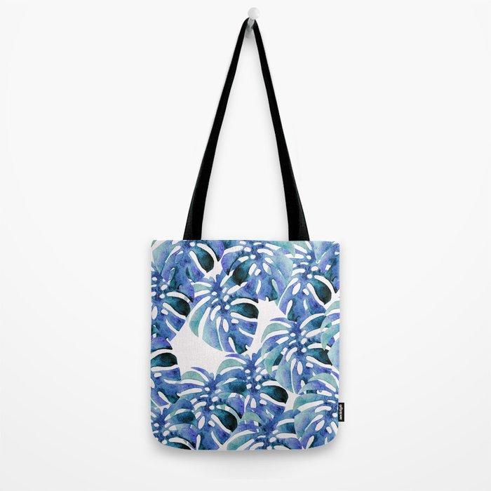Monstera Pattern Blue Tote Bag