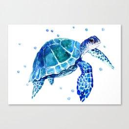 Blue Sea Turtle Canvas Print
